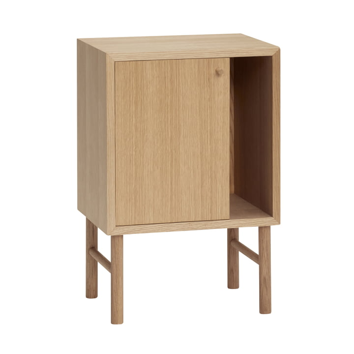 Side table with door, oak, natural from Hübsch Interior