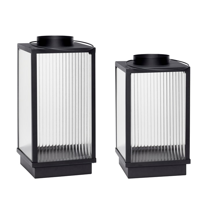 Lantern set of 2, black by hübsch Interior