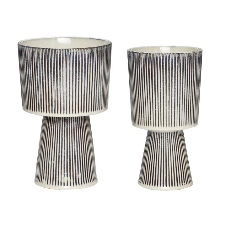 Ceramic pot set of 2, beige / black by Hübsch Interior