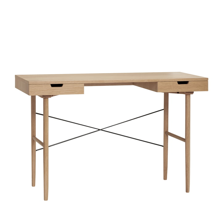 Desk with 2 compartments, LxW 120 x 55 cm, oak, natural from Hübsch Interior