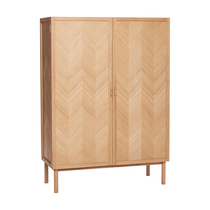 Cabinet with herringbone look, oak, natural from Hübsch Interior