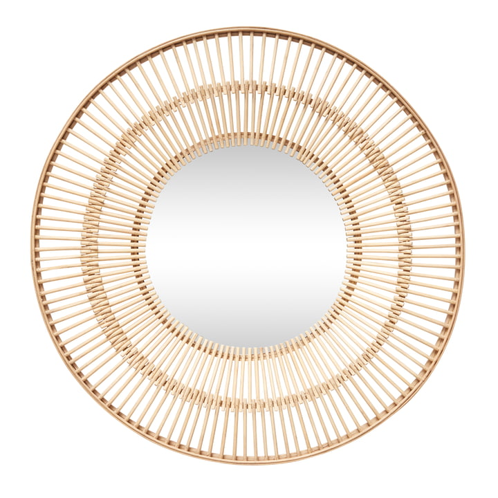 Rattan mirror Ø 61 cm, natural from Hübsch Interior