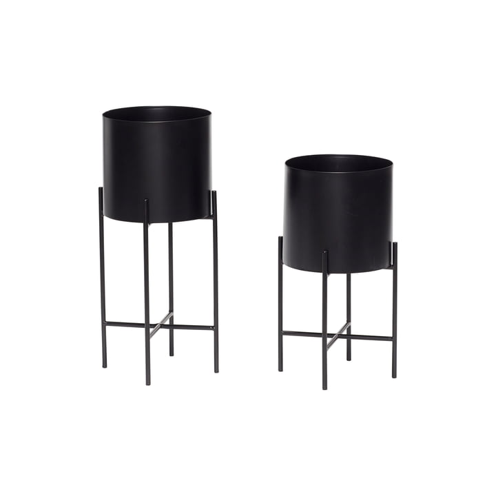 Plant pot with frame set of 2, black from Hübsch Interior