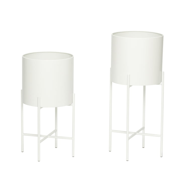 Plant pot with frame set of 2, white from Hübsch Interior
