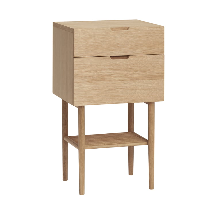 Bedside table with drawers, oak, natural from Hübsch Interior