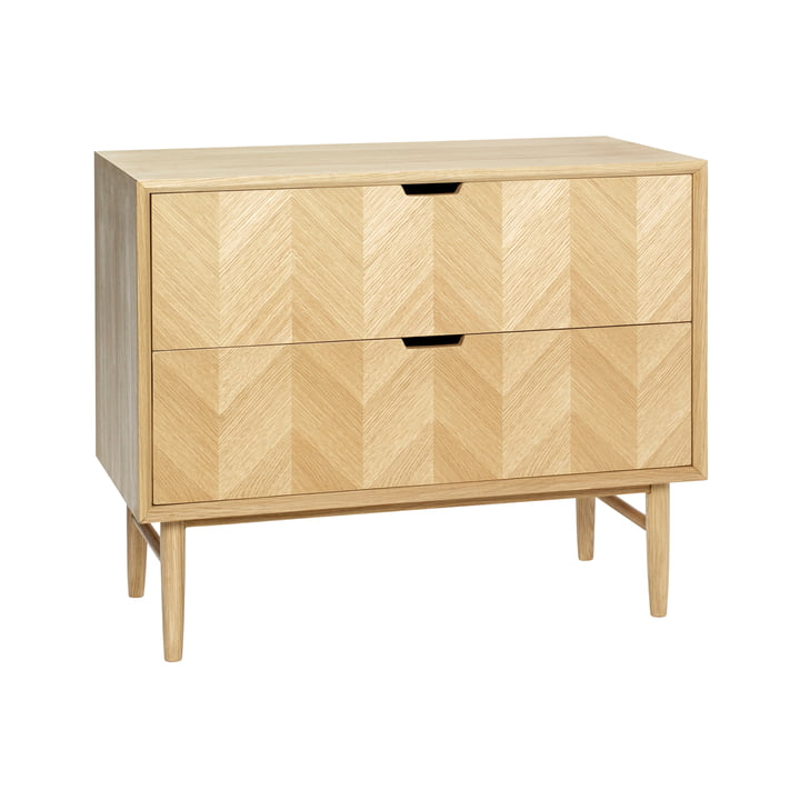 chest of drawers with herringbone look and 2 drawers, oak, natural from Hübsch Interior