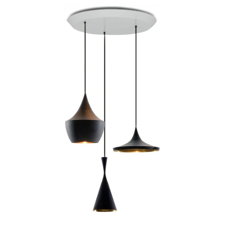 Beat Trio Pendant Lamps by Tom Dixon in Black