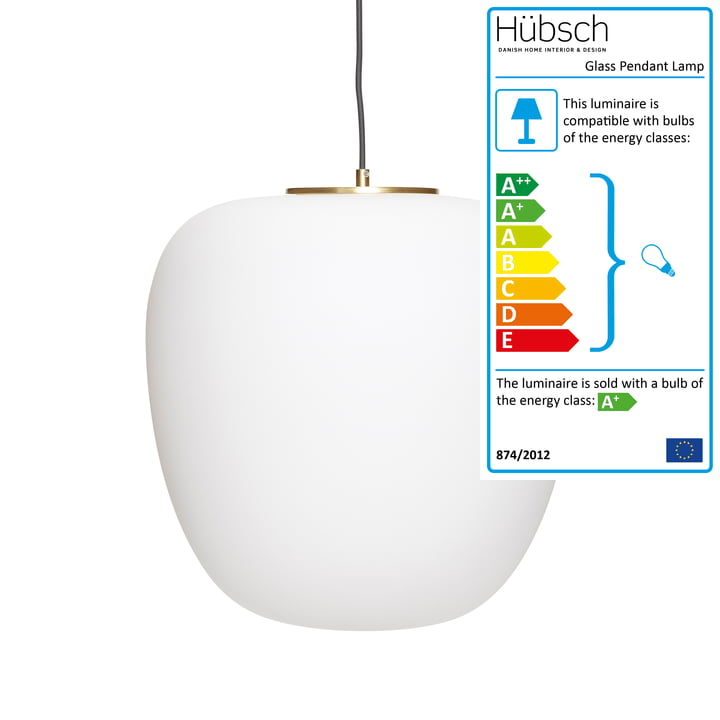 The glass pendant lamp from Hübsch Interior in white / brass, Ø 40 cm, H 40 cm