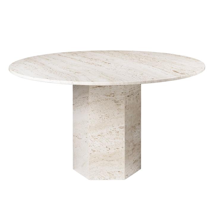 Epic Dining table, Ø 130 cm, neutral white by Gubi
