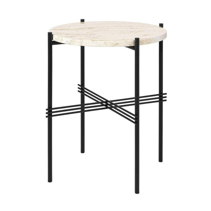 Travertine coffee table, Ø 40 cm, black / white by Gubi