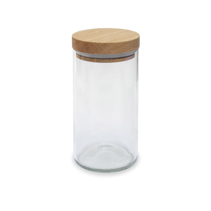The storage glass from side by side in oak / clear glass, 450 ml