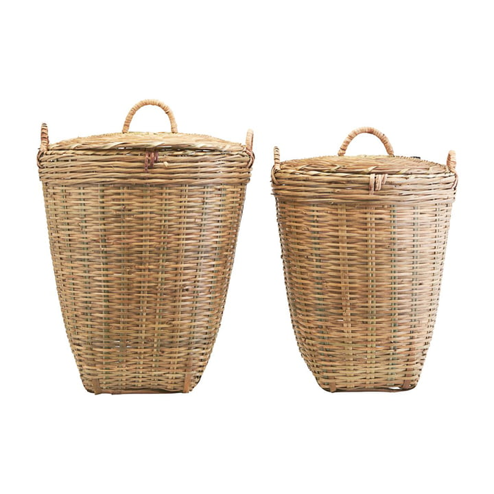 The Tradition laundry basket with lid from Meraki in set of 2 in brown