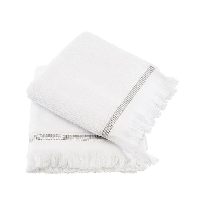 The towel striped from Meraki in white / grey, 50 x 100 cm (set of 2)