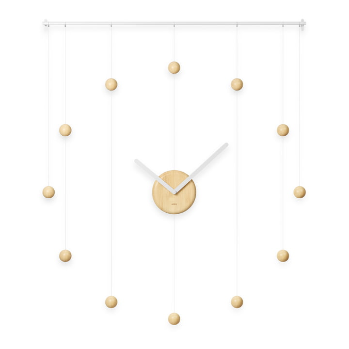 The Hangtime wall clock from Umbra , 64 x 74 cm, natural wood