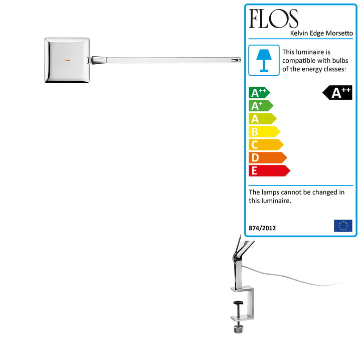 The Kelvin Edge Morsetto clamp lamp from Flos in chrome