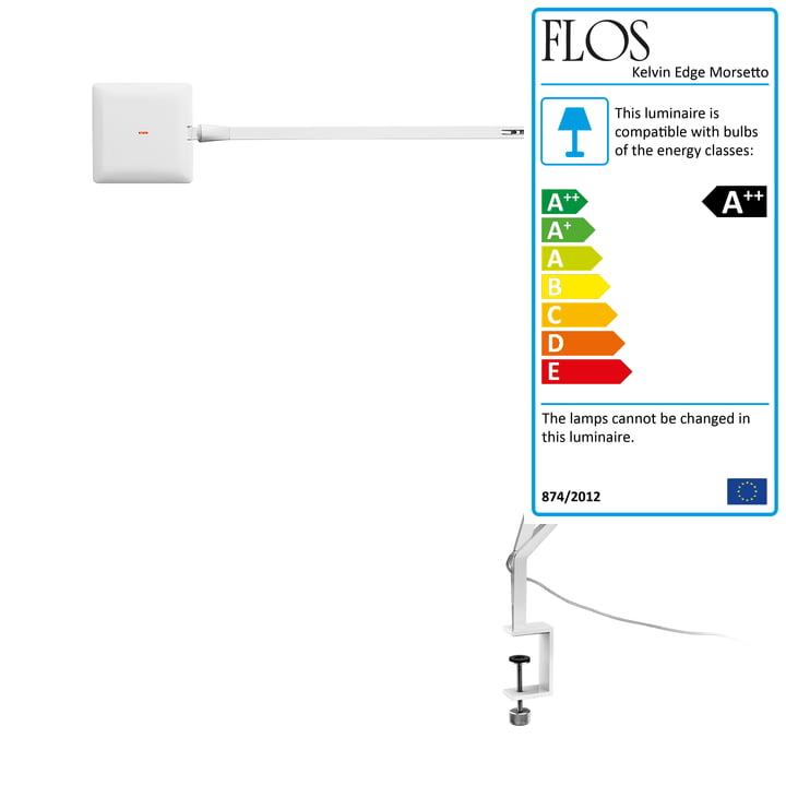 The Kelvin Edge Morsetto clamp lamp from Flos in white