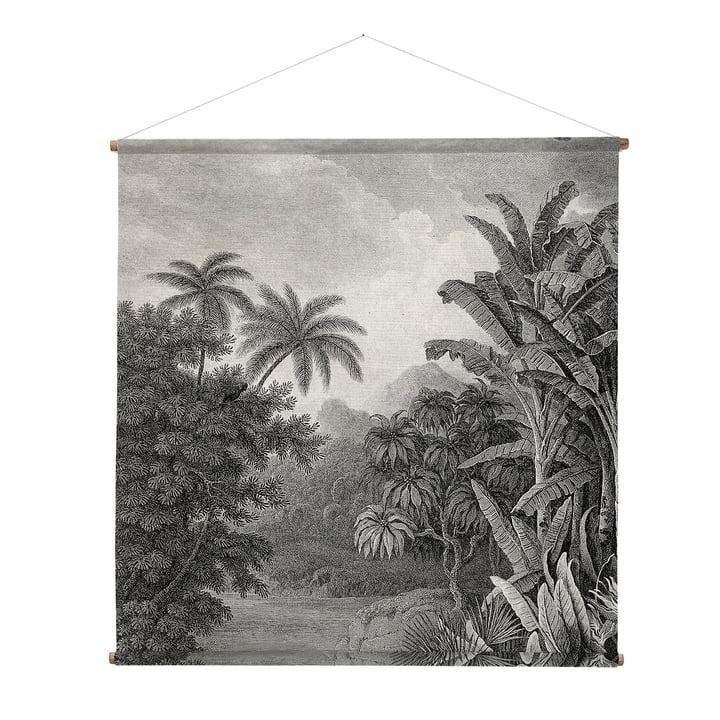 XXL Jungle Wall picture, 154 x 154 cm, black / white from HKliving