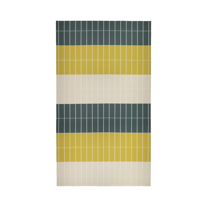 The Tiiliskivi tablecloth from Marimekko in dark green / sand / brass