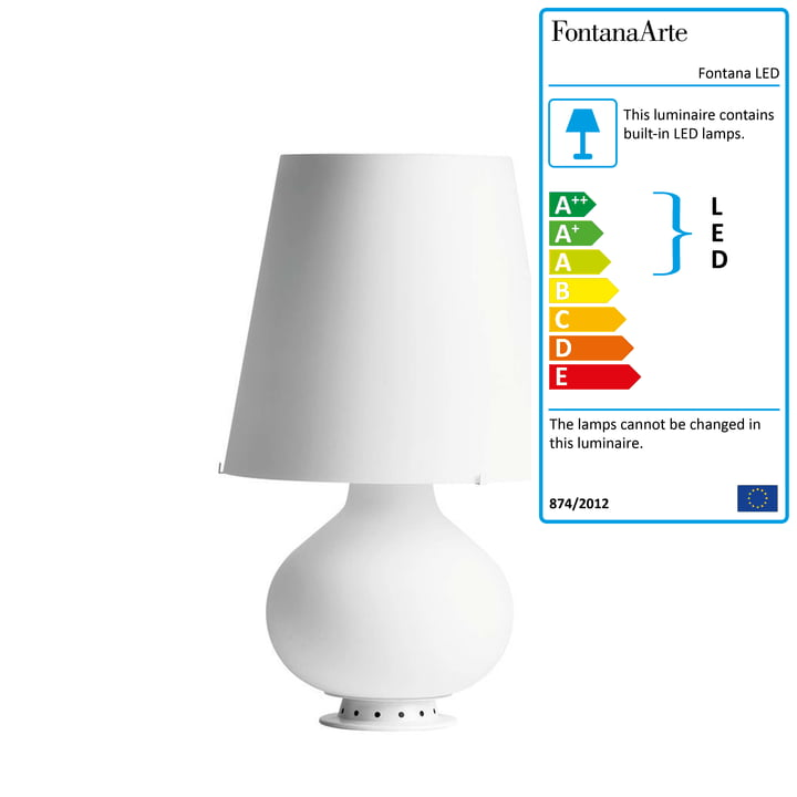The Fontana LED table lamp by FontanaArte in white, Ø 20 cm, H 34 cm
