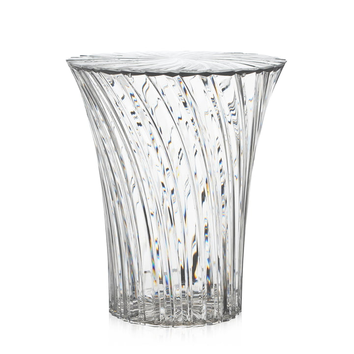 Sparkle Stool and side table Ø 38 cm from Kartell in crystal clear