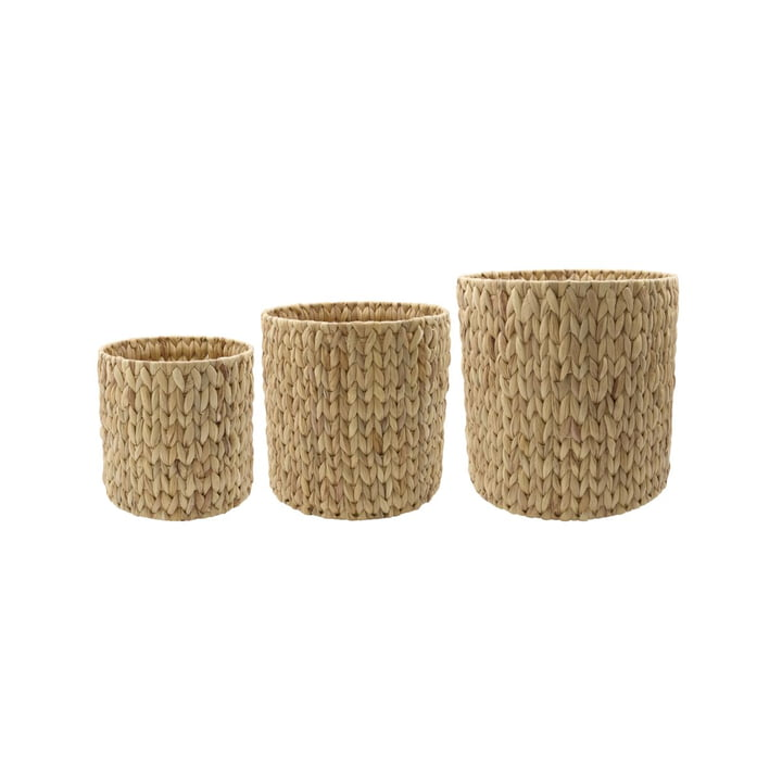 The Round storage baskets from House Doctor made of natural raffia (set of 3)