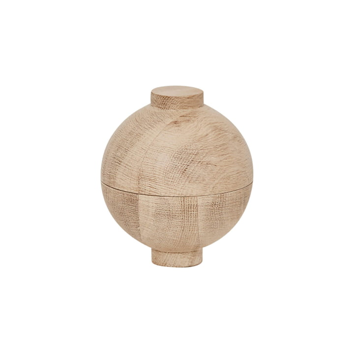Wooden Sphere Storage Ø 12 x H 15 cm, oak from Kristina Dam Studio