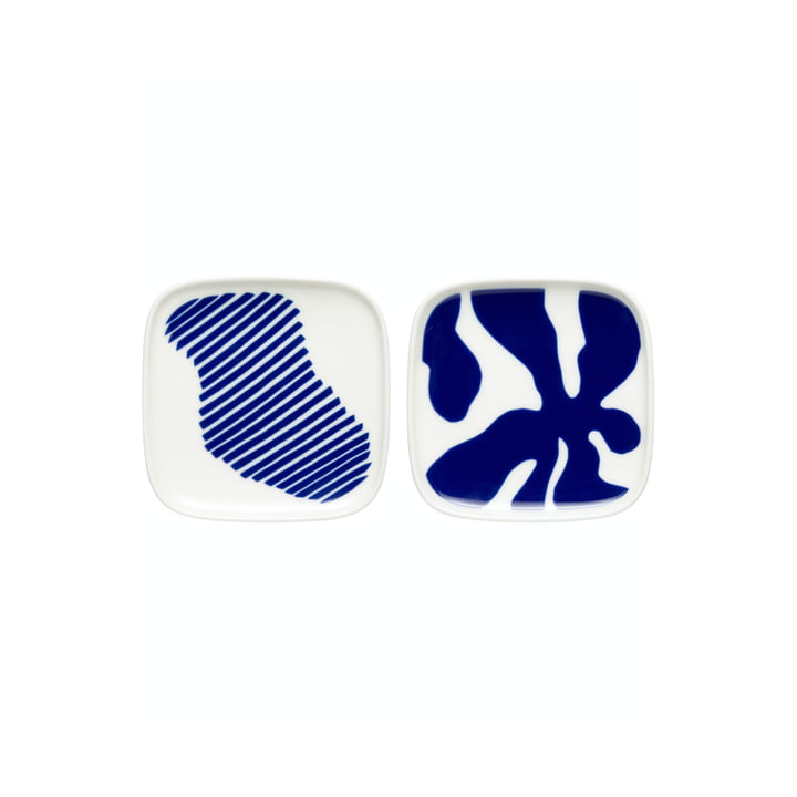The Ruudut serving dish by Marimekko, 10 x 10 cm (set of 2), white / blue