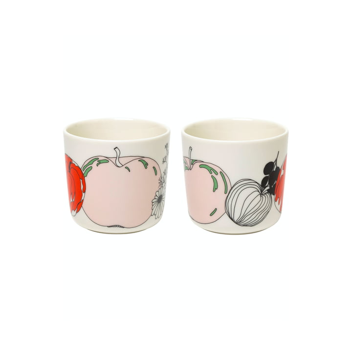 The Tarhuri mugs by Marimekko (set of 2), 200 ml, white / red / green