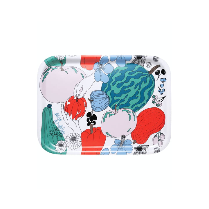 The Tarhuri tray by Marimekko, 27 x 20 cm, white / red / green
