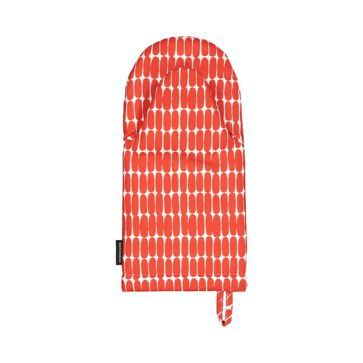 The Alku oven glove from Marimekko, white / red