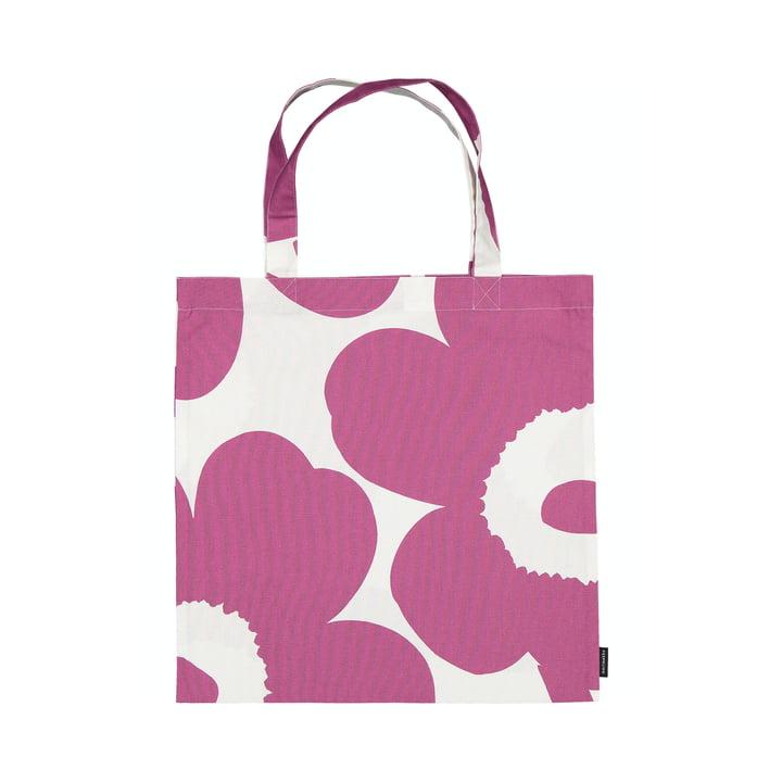 The Unikko shopping bag from Marimekko in pink / white