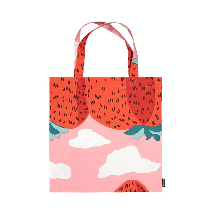 The Mansikkavuoret shopping bag from Marimekko, light red / red