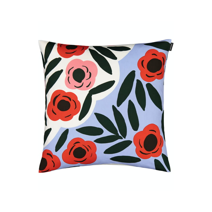 The Ruukku pillowcase by Marimekko, 50 x 50 cm, light blue / red / dark green