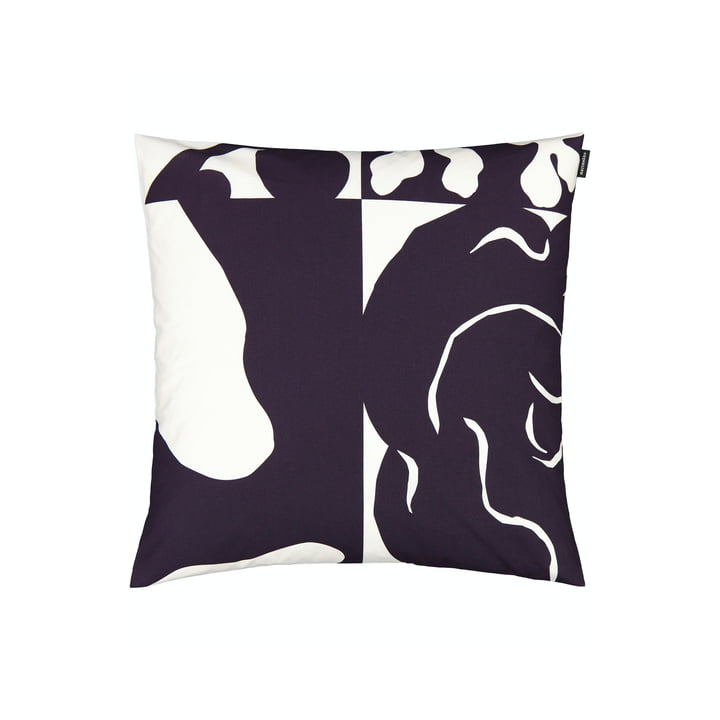The Ruudut pillowcase by Marimekko, 50 x 50 cm, aubergine / white