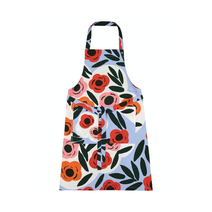 The Ruukku apron by Marimekko, light blue / red / dark green