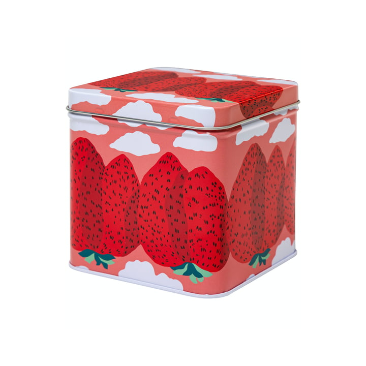 The Mansikkavuoret storage box by Marimekko, pink / red