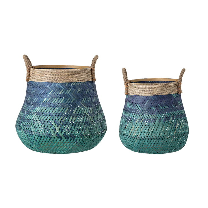 The bamboo basket from Bloomingville , blue (set of 2)