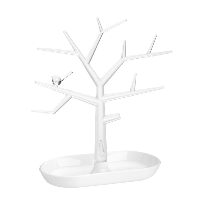 The [pi : p ] M ornament tree from Koziol , crystal clear / cotton white