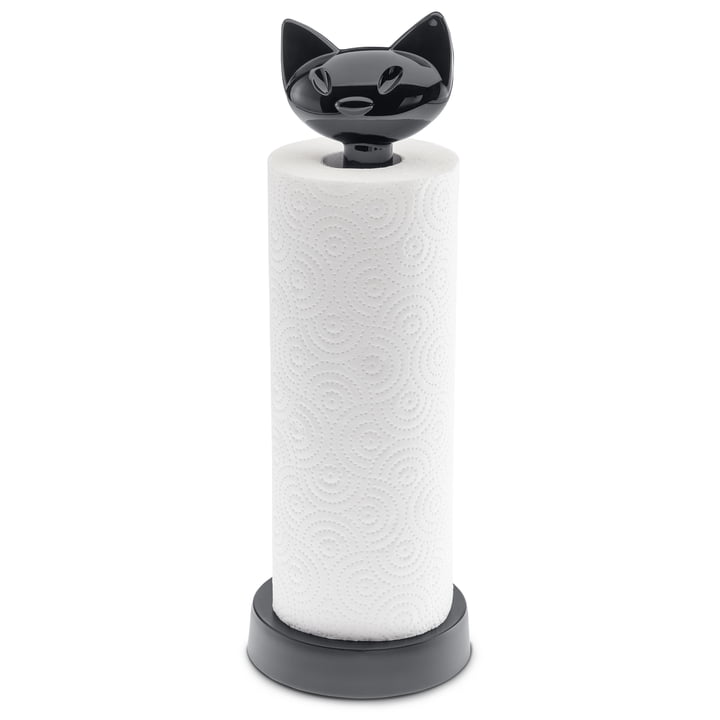 The MIAOU kitchen roll holder from Koziol in cosmos black