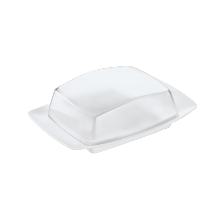 The RIO butter dish from Koziol , crystal clear / cotton white