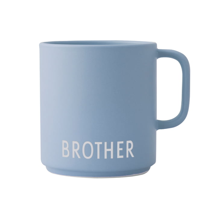 The AJ Mini Favourite porcelain mug with handle from Design Letters , Brother / light blue
