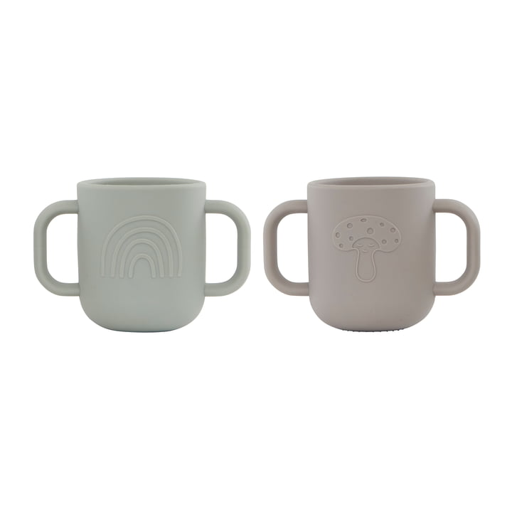 The Kappu children's mug with handle from OYOY , clay / pale mint (set of 2)