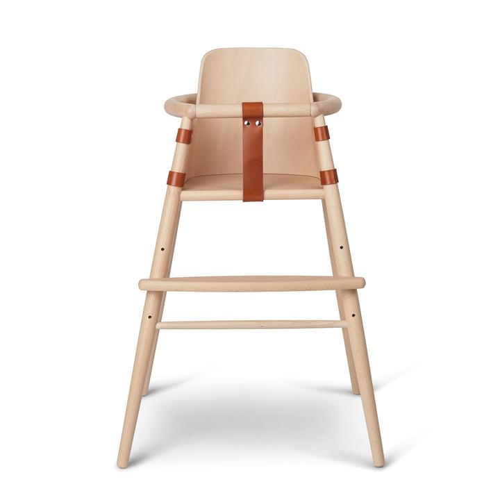 The chair back for ND54 children's high chair from Carl Hansen , beech matt lacquered / cognac