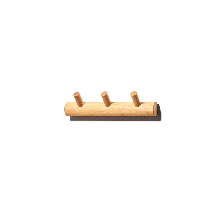 The Peggy 3 wall coat rack from OWL , 30 cm, oak