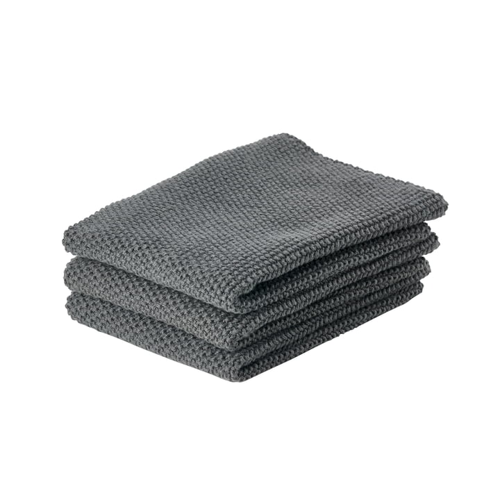 The cleaning cloth from Zone Denmark , 27 x 27 cm, anthracite (set of 3)