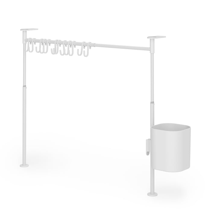 Anywhere Kitchen organizer with 12 hooks & 1 bin from Umbra in white