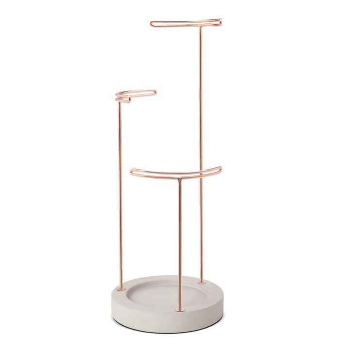Umbra - Tesora Jewellery stand, concrete / copper
