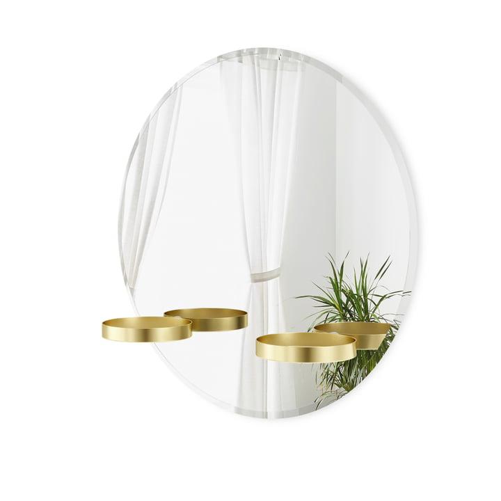 Perch Wall mirror with shelf Ø 61 cm from Umbra in brass