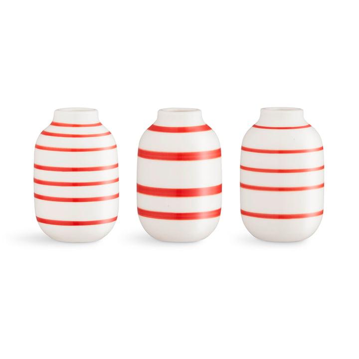 Omaggio Vase miniature H 8 cm from Kähler Design in scarlet (set of 3)