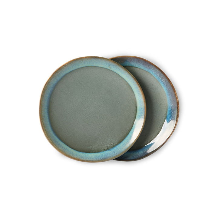 The 70's plate from HKliving , Ø 17,5 cm, moss green (set of 2)